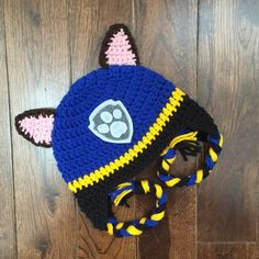 Paw Patrol crochet hats are new to my shop and can be made in any size! Paw Patrol is on a roll! photography Paw Patrol Crochet Character Hats, Made to Order, Newborn Baby Child Adult, Photography Prop Crochet Mittens, Crochet Beanie, Knitted Hats, Cartoon Outfits, Baby Kind, Crochet For Kids, Crochet Baby, Paw Patrol Badge, Beanie Babies