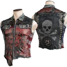 Custom Leather And Denim Vest WSCV-370 MTO Wornstar