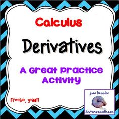 FREEBIE!!!! The activity  is designed for AP Calculus AB/BC, Calculus Honors, or College Calculus 1.   It is a great Practice,  Review, Test, or HW for the Unit on Techniques of Finding Derivatives.  This bundle includes two versions of a worksheet, each with twenty -two well chosen representative questions.