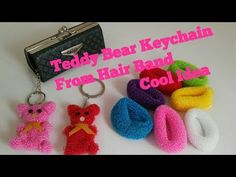 best=Teddy Bear Keychain from Hair Band Best out of waste cool craft idea hairbanddollmaking Simplicity Dress Best Teddy Bear, Diy Teddy Bear, Cute Teddy Bears, Diy Arts And Crafts, Fun Crafts, Crafts For Kids, Bear Crafts, Diy Keychain, Keychains