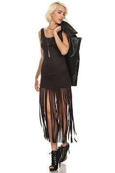 Carmen - Dark Black Faux Suede Bodycon Fringed Hem Mini Dress,Medium -- For more…