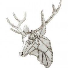 Tête Cerf effet métal riveté Deer