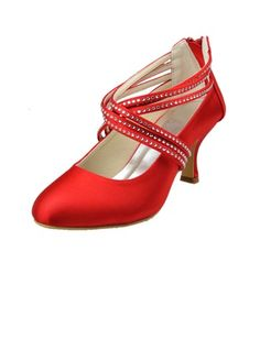 jjhouse.com - Women's Satin Low Heel Closed Toe Pumps With Rhinestone