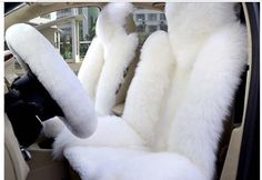 2pcs Sheepskin Car Seat Cover White Color Sheepskin Car Front Driver Seat Cover…