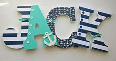 Nautical letters, nautical nursery letters, teal and navy wooden letters, nautical wall hanging , wooden letters for boy - Wood Letters Nautical Letters, Nautical Theme Nursery, Baby Boy Nursery Themes, Baby Boy Nurseries, Navy Nursery, Hanging Wooden Letters, Painted Letters, Wood Letters, Painted Initials