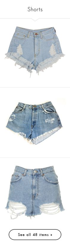 """""""Shorts"""" by laurah-468 ❤ liked on Polyvore featuring shorts, bottoms, short, pants, high-waisted jean shorts, fringe denim shorts, denim shorts, short shorts, high waisted denim shorts and silver"""