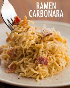 Here's A Way To Take Your Ramen To New Levels Of Flavor Not your average ramen anymore. - Step Up Your Ramen Game With This Recipe For Ramen Carbonara Ramen Noodle Recipes, Soup Recipes, Dinner Recipes, Cooking Recipes, Ramen Noodle With Egg, Top Ramen Recipes, Shrimp Recipes, Salmon Recipes, Food Porn