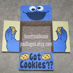 Cookie Monster Care Package Flaps by LoveFromHomePackages on Etsy