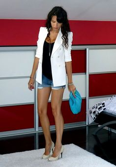 white blazer and shorts