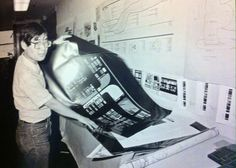 Mile Okuda and an LCARS panel he designed in 1987.