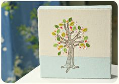 stretched embroidery around a deep-edge canvas · kirsty neale · tree embroidery pattern from elsiecake.etsy.com