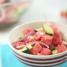 Watermelon Cucumber Salad The perfect sweet and savory salad for summer. Cucumber Salad Recipe Healthy, Cucumber Recipes, Healthy Salad Recipes, Diet Recipes, Healthy Snacks, Vegetarian Recipes, Healthy Eating, Cooking Recipes, Cucumber Watermelon Salad
