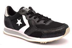 CONVERSE 561304C AUCKLAND NERO ARGENTO Glitter Scarpe Sneakers Donna All Star