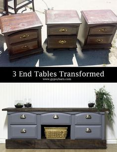 transforming 3 ruined end tables, diy, home decor, painted furniture, repurposing upcycling