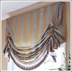 Window Treatment Ideas   Can replace the gathering stitch with rings sewn on the back at 3