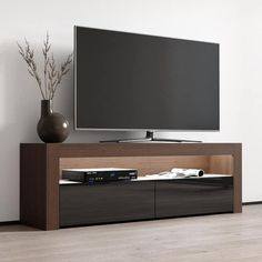 Milano Classic Modern 16 color 63-inch TV Stand | Overstock.com Shopping - The Best Deals on Entertainment Centers - Gray/Wavy Black Tv Stand With Led Lights, Led Tv Stand, Living Room Storage, Living Room Tv, Tv Stand Overstock, Black Tv Stand, Cool Tv Stands, Entertainment Room, Tvs