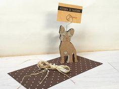 Cardboard french bulldog art card holder desk by bottegadicartone