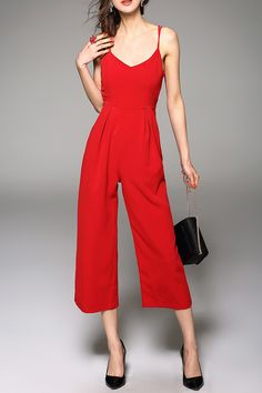 T&c.g Red Solid Color Spaghetti Straps Jumpsuit   Jumpsuits & Rompers at DEZZAL