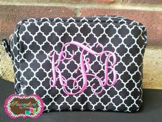 Monogrammed Quatrefoil Cosmetic Bag by PersonalizedbyPriss, $27.00  CUTE bridesmaid's gift!!