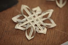 Paper ornaments made from old book pages.