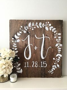 Wedding signs diy - Wedding Decor Monogram Wedding Sign Established Date Home Decor Wood Sign Wood Wedding Signs Rustic Wedding Decor Initials – Wedding signs diy Wedding Date Sign, Rustic Wedding Signs, Wedding Signage, Wedding Reception, Rustic Diy Weddings, Wedding Shower Signs, Pallet Wedding, Outdoor Weddings, Rustic Signs