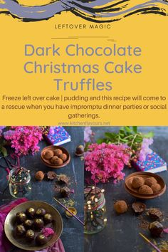 Wondering what to do with leftover cake or pudding? Then I am sure you gonna love these awesome dark chocolate Christmas cake truffles... #truffles #cake #christmas #pinterest #pudding #leftovercake #chocolate #recipe #yummyfood #caketruffles #nobake #easy #festive