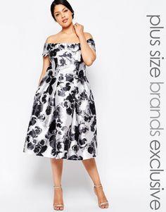 Chi Chi London Plus Bardot Poppy Print Dress