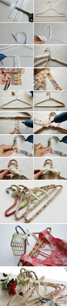 DIY教程分享巧手DIY森系衣架作法:简单的衣架几个+白色的铺棉(裁成2cm左右条状)+花布+胶(没有的可以用细线什么的缠一 - 爱乐活 - 品质生活消费指南