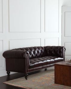 Morgan Aubergine Chesterfield Leather Sofa From Old Hickory Tannery At Horchow Where You Ll Find New Lower Shipping On Hundreds Of Home Furnishings