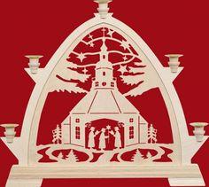 Taulin Erzgebirge Gotischer Bogen Wachskerzen 42,5 cm Seiffener Kirche