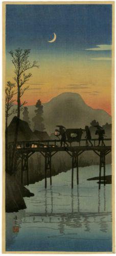 SHOTEI-Japanese-Woodblock-Print-SUNSET-AT-SAKAWA-BRIDGE-1936-HIROAKI