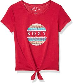 Cotton, Polyester Imported Pull On closure Machine Wash Fabric: cotton polyester blend fabric Fit: classic, comfortable regular fit Knot detail on front Roxy graphic on front Kids Outfits Girls, Baby Boy Outfits, Shirts For Girls, Roxy, Leather Shoulder Bag, Shoulder Bags, Summer Girls, Tees, Mens Tops
