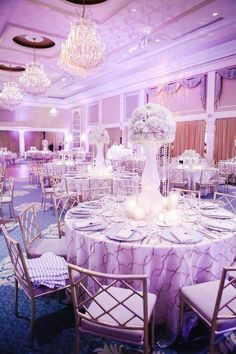 Glamorous white ballroom wedding reception; Via A Touch of Elegance