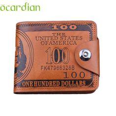 Men Wallet Top Quality  US Dollar Bill Brown Leather Wallet Bifold Credit Card Photo Drop Shipping Billetera Carteira 17May9