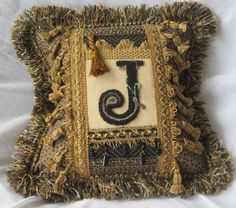 The Letter J Designer American Handmade Decorative Accent Pillow, One of a Kind Embroidery Punch Needle by HeirloomPillows on Etsy Monogram Pillows, Accent Pillows, Letter J, Designer Pillow, Punch Needle, Handmade Decorations, Burlap Wreath, Embroidery, American