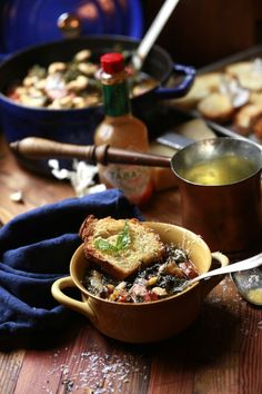 Garlic Toast with Sage Butter makes this comfort dish of Collards and Bean Soup absolutely PERFECT! Sage Butter, Chili Soup, Dried Beans, Pork Dishes, Vegetable Sides, Bean Soup, Casserole Dishes, Soups And Stews