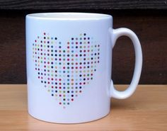 Spot Heart - Multi-Coloured Art Mug - Inspired by Damien Hirst Spot Paintings Damien Hirst, Novelty Mugs, Paintings, Inspired, Heart, Unique Jewelry, Handmade Gifts, Inspiration, Etsy