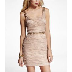 Express Womens Rose Gold Ruched Lace Embellished Strap Dress Shiny Gold, 12