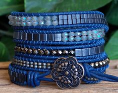 Blue Gray Beaded Leather Five Wrap Bracelet, Tila Angelite Cube Bead Bracelet, Artisan Beaded Wrap, Bohemian Jewelry, Multi Wrap Bracelet Beaded Wrap Bracelets, Bohemian Bracelets, Bohemian Jewelry, Beaded Jewelry, Jewelry Bracelets, Handmade Jewelry, Beaded Leather Wraps, Bracelet Cuir, Bijoux Diy