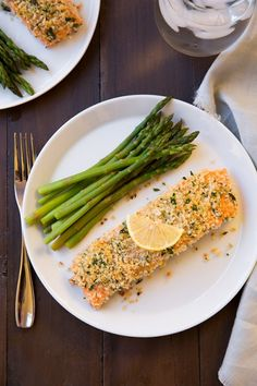 Panko Crusted Honey Mustard Salmon ... so yummy, so easy and good for you.  Love salmon!