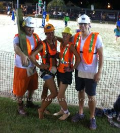 Easy No-Sew DIY Construction Workers Group Costume... Coolest Halloween Costume Contest