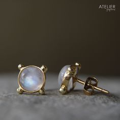 Moonstone Studs in 14kt Gold by ATELIER Gaby Marcos
