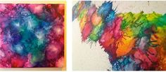 You may have seen crayon art using a drip technique but this is different. The result is a beautiful watercolor effect.