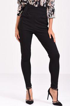 Παντελόνι ψηλόμεσο μαύρο σε στενή γραμμή Black Jeans, Pants, Fashion, Moda, Trousers, Fashion Styles, Women Pants, Women's Pants, Fashion Illustrations