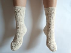 Off-white wool lace socks.  Inspired by Lingerie socks by Maria Naslund  Luxurious hand knit wool socks. White wool socks. by GrietaKnits