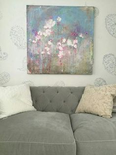 Chesterfield sofa in Gris velvet, paisley stensil on walls and Laurence Amelie art www.shabbychic.com
