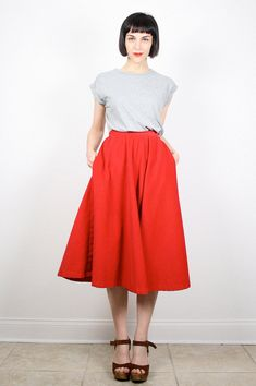 Vintage Midi Skirt Red Skirt High Waisted by ShopTwitchVintage