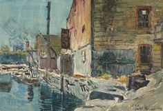 """""""The Dock at Noon,"""" Childe Hassam, 1916, watercolor on paper laid down on board, 15¼ x 22¼"""", private colleciton."""