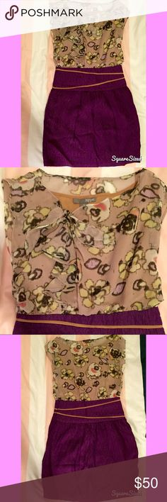Silk Purple Floral Dress 4 Stunning Hype silk twofer dress with floral chiffon top and purple skirt - size 4. Neckline is slightly asymmetrical with a feminine ruffle and bow. Only worn once and professionally dry-cleaned. Hype Dresses Mini
