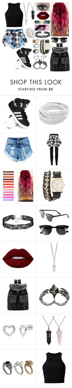 """Untitled #484"" by skh-siera18 ❤ liked on Polyvore featuring adidas, Charlotte Russe, Ray-Ban, Lime Crime, KD2024, BERRICLE, Bling Jewelry, River Island and T By Alexander Wang"
